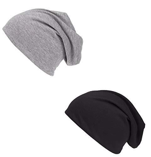 shenky - Cappello Lungo Attillato in Jersey - Nero e Grigio - Confezione da 2
