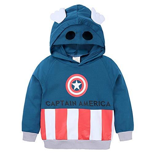 Towel Rings Marvel Sudadera del Capitán América Original Super Héroe,Camiseta con Capucha para Niño Niñas (3-8 Años) Sudaderas De Capitán América Camiseta