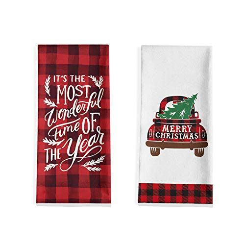 Artoid Mode It's The Most Wonderful Time of The Year Kitchen Dish Towels, 18 x 28 Inch Christmas Holiday Buffalo Plaid Truck Tree Ultra Absorbent Drying Cloth Tea Towels for Cooking Baking Set of 2