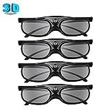 BOBLOV DLP Link 3D Glasses 4 Pack, Rechargeable 144Hz 3D Active Shutter Glasses for All 3D DLP Projectors, Compatible with Optoma, Samsung, BenQ, Dell, Mitsubishi, Acer, Vivitek, NEC, Sharp (Black)