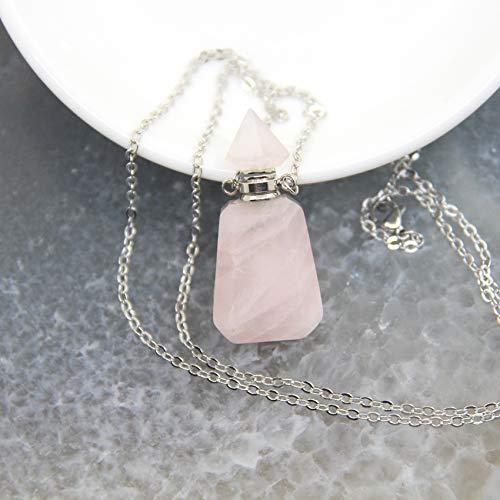 TCross Cadena Colgante de la Botella de la Botella de Perfume de Amatista/de Color Rosa, Collar de la Botella del difusor de Aceite Esencial del Cristal, joyería del Encanto