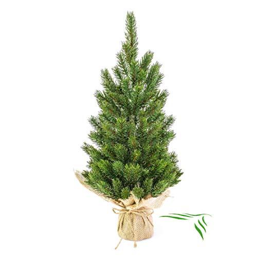 artplants.de Künstlicher Tannenbaum im Jutesack, 45cm - Kunsttanne - Weihnachtsbaum künstlich