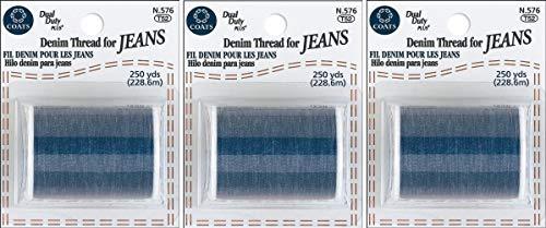 Coats&Clark Denim Thread for Jeans, 250-Yard, Blue (3 Pack)