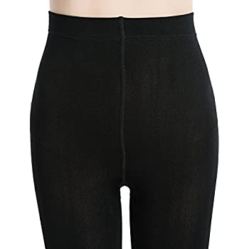 MANZI Womens 2 Pairs Super Opaque Soft Black Warm Fleece Tights 400 Denier