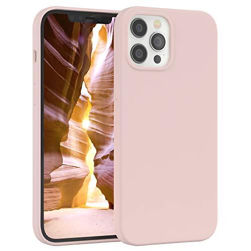 EAZY CASE Premium Silikon Handyhülle kompatibel mit iPhone 12 Pro Max, Slimcover mit Kameraschutz & Innenfutter, Silikonhülle, Schutzhülle, Bumper, Handy Hülle, Hülle, Softcase, Altrosa, Rosa