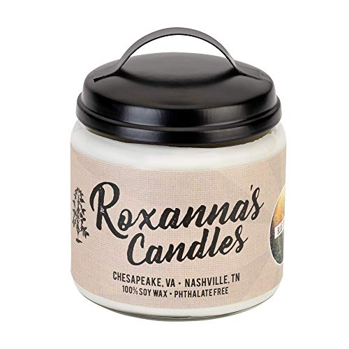 Roxanna's Candles Clean Burning Soy Wax Wooden Wick Glass Jar Candle 16oz by Artisan Hand-Crafted in Nashville, TN | NO Chemical Binders, Dyes, or Lead Wicks | Pthalate-Free (Macintosh Apple)