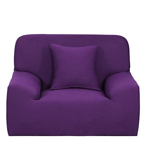 YeVhear - Funda de sofá extensible para sofá o sofá, funda de poliéster elástico con funda de almohada (morado, pequeño)