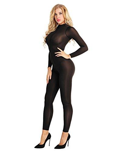 Agoky Damen Eleganter Overall Jumpsuit lang Schlank Einteiler Langarm Body Halb-transparent Unterwäsche mit Reisverschluss Ganzkörper Hose Party Clubwear Schwarz L
