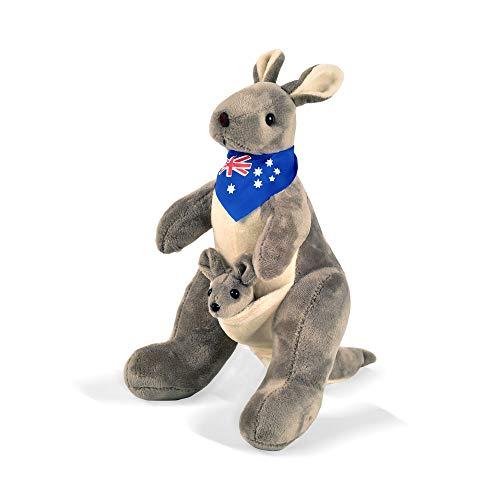 BOHS Australia Canguro con Bufanda Padres Juguete Familiar Peluche Suave Animales de Peluche - 30 cm Altura