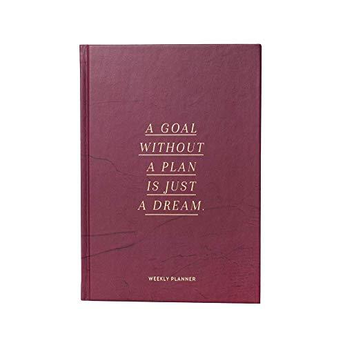 JO & JUDY Weekly planner A5 'a goal without a plan is just a dream', berry, gold, 176 Seiten, englische Seiteninhalte, 15.2, 21.5 cm