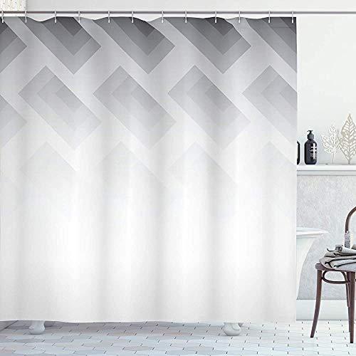 ASDAH Grijs Douchegordijn Waas Poster Display met Simplistische Vierkante Vormen Hedendaagse Mozaïek Optische Illusie Print Doek Stof Badkamer Decor Set met Haken Wit Grijs 66 * 72in