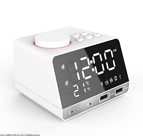 Q&M Digitale wekkerradio, USB, AM/FM met LED-display, snooze, dimmer, slaaptimer en dubbel alarm