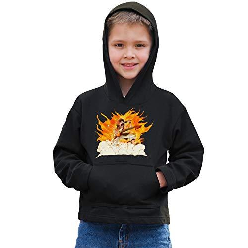 Okiwoki Sweat-Shirt à Capuche Enfant Noir Parodie Fairy Tail - Natsu - Un Chanteur Qui met Le feu. (V2) ! (Sweatshirt de qualité Premium de Taille 11-12 Ans - imprimé en France)
