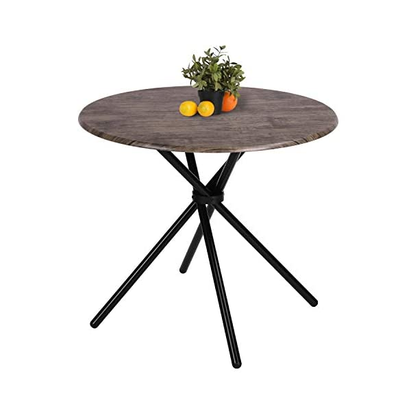 Kitchen Dining Table Industrial Brown Round Mid-Century Vintage Living Room Table...