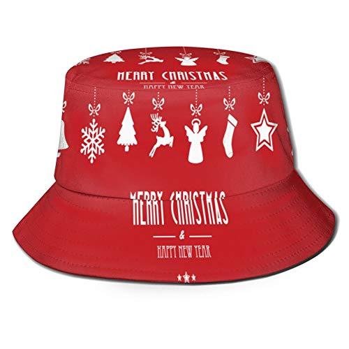 PUIO Sombrero de Pesca,Feliz Navidad Adornos Colgando sobre Fondo Rojo,Senderismo para Hombres y Mujeres al Aire Libre Sombrero de Cubo Sombrero para el Sol