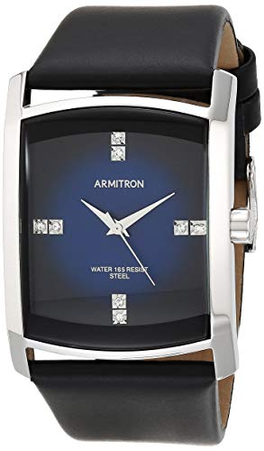 Armitron Men's 204604DBSVBK Dress Genuine Crystal Accented Silver-Tone Black Leather Strap Watch