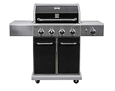 Kenmore PG-40409S0LB-AM Outdoor Patio 4 Gas BBQ Propane Grill with Side Burner in, Black