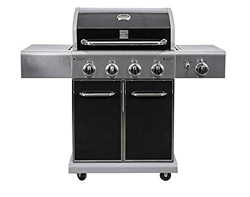 Kenmore PG-40409S0LB-AM 4 Outdoor Patio Gas BBQ Grill with Side Burner, Black