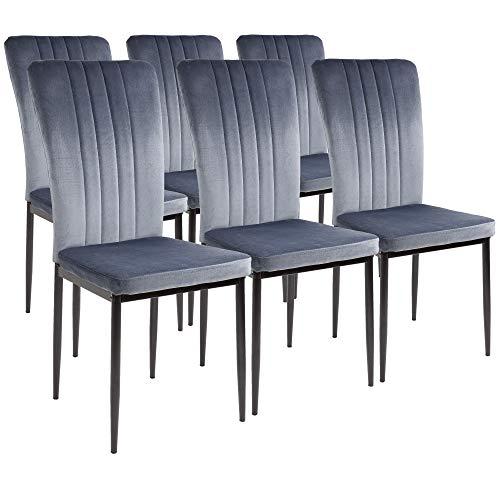 Silla de comedor Albatros Modena, Set de 6 sillas, gris, certificada por la SGS