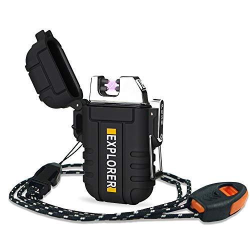 Lafagiet USB-uppladdningsbar tändare, vattentäta tändare med dubbla bågar för camping, vandring, utomhus, överlevnadskit Svart Svart