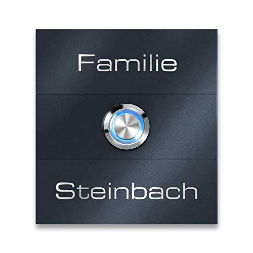 Türklingel Edelstahl Anthrazit Klingelschild - LED Klingeltaster - inkl. magnetischem Namensschild RAL7016 - Unterputz