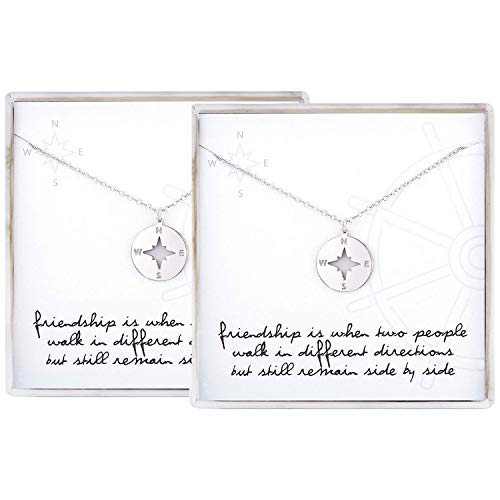 2 PCS Best Friend Necklace for 2 Sterling Silver Compass Necklace BFF Gifts Jewelry for Women Girls Birthday Gifts Graduation Gifts