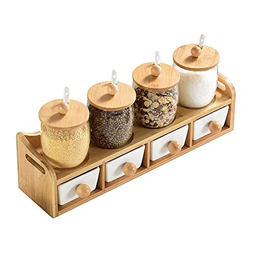 Ceramic Seasoning Pot Set, Seasoning Bottle, Seasoning Pot, Salt and Pepper Shaker Kitchen Spoon Storage Container, Decorate Your Kitchen, Suitable for a Variety of Spices