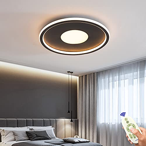 Lámpara de techo LED de 64W regulable , moderna negra de 40cm, lámpara de techo ultrafina con control remoto, 3000k-6500k, para dormitorio/sala de estar, los redondos creativos tienen brillo lateral