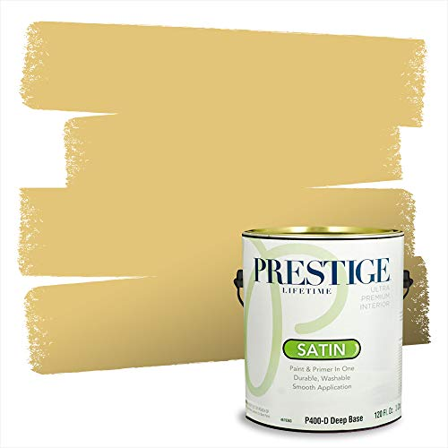 Prestige Paints Interior Paint and Primer In One, 1-Gallon, Satin, Comparable Match of Benjamin Moore Marblehead Gold