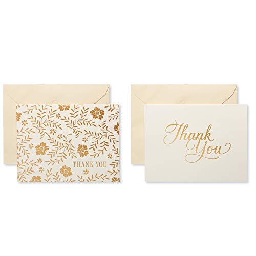 American Greetings Dankeskarten mit Umschlägen 50-Count Gold und Creme