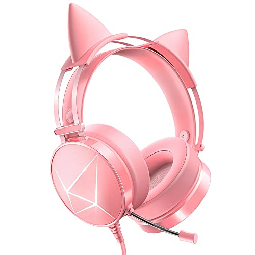 ExGamMER Pink Gaming Headset mit abnehmbaren Katzenohren Kopfhörer für PC, Xbox One, PS4, Noise Canceling Mikrofon, PS5 Headset mit 7.1 Surround Sound, LED Lichter