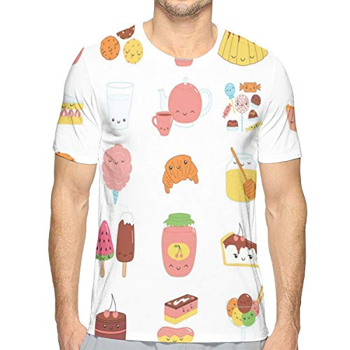Mens T-shirt, dessert Concept Sketches Ice Cream Donut Cake Honey Cupcake Chocolate Everything Sweet