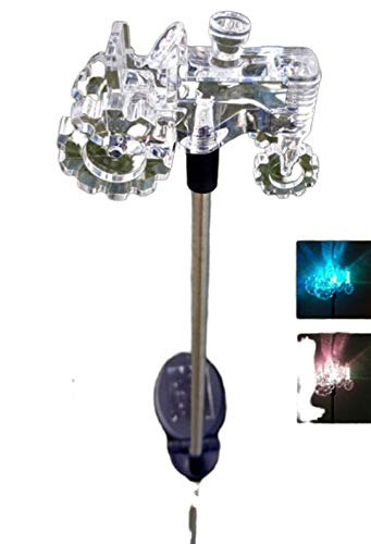 Exquisite Selebrity Set of 2 Tractor Acrylic Solar Stake Light Garden Decorations Outdoor Yard Art Lawn Ornaments Patio Lights Stick Color Change LED Light