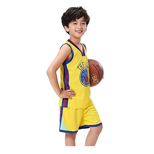 Kinder Basketball Trikot,30 # Stephen Curry Golden State Warriors Mesh Atmungsaktives Trikot, Basketball Swingman Trikot Fitnessstudio Komfortable Weste Sportswear Kindergeschenke (3XS-XXL)-yellow-XS(