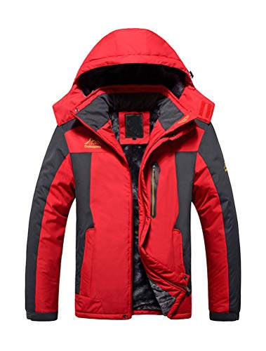 PASOK Men's Winter Mountain Jacket Waterproof Ski Coat Windproof Fleece Outerwear Raincoat Red 2XL