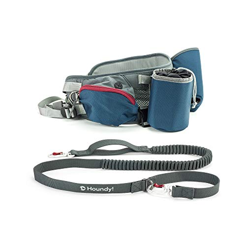 Adjustable Hip Bag & Hand-Free Dog Leash for Hiking, Jogging, Running. Retractable Shock Absorbing Bungee Leash with Carabiners. Water Bottle Pouch and Treat Bag.