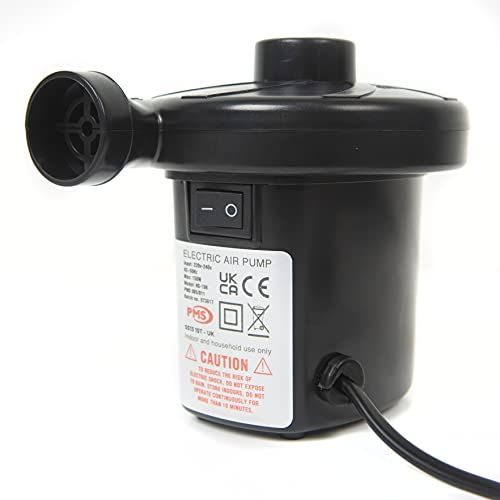 Wild n' Wet - Electric Air Pump, Air Pump for Inflatables, Electric Camping Pump, Blow Up Bed Pump, 240V Mains Operated, With 3 Nozzle Sizes,