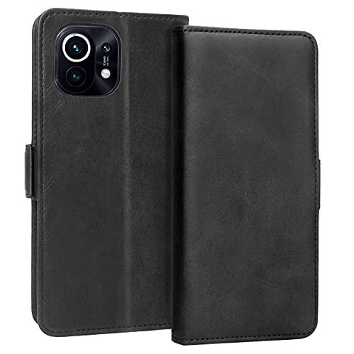 KUAO Leder Hülle Kompatibel mit Xiaomi Mi 11 5G, [Classic Wallet Serie] Standfunktion Magnetverschluss Klapphülle Tasche Schutzhülle für Xiaomi Mi 11 (Schwarz)