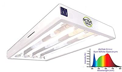 Active Grow T8 HO 2FT LED Grow Light Fixture for Microgreens & Hydroponics - Contains 4 X 9W T8 HO 2FT LED Tubes - Sun White Full Spectrum (High CRI 95) - Universal Voltage 120-277V - Daisy-Chainable