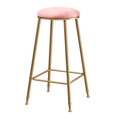 Chair Taburete de Bar apilable Silla de Desayuno de Metal Dorado de Estilo nórdico, apilable, Mesa de Comedor Plus Taburete Taburete de Franela de Taburete Suave, 3 Alturas para Elegir KADJ