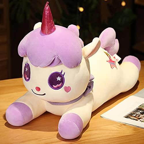 KXCAQ 23cm-85cm Unicornio de Dibujos Animados de Juguete de Felpa Bebé Niños Almohada Muñeca Animal de Peluche de Juguete Bonitos Regalos de cumpleaños Niñas Niños Vacaciones 65cm mintiendo púrpura