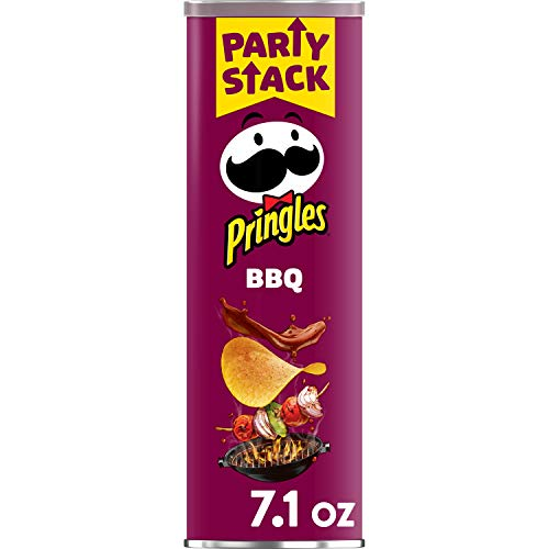 Pringles Potato Crisps Chips, Lunch Snacks, Snacks On The Go, Party Stack, BBQ, 7.1oz Can (1 Can)