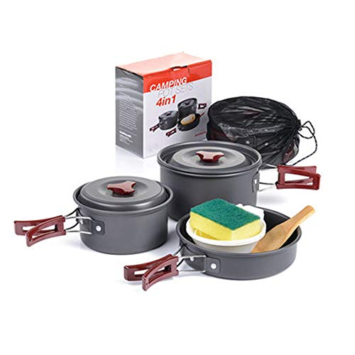 combinatie picknickpottenset, Outdoor Cookware, Barbecue outdoor camping pot, Inclusief koekenpan, Cookware 3, BPA-vrije Bowls, Lepel, 2-3 personen