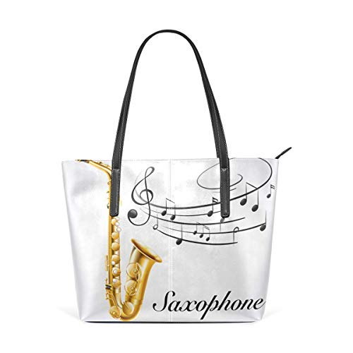 Mode Handtaschen Einkaufstasche Top Griff Umhängetaschen Musical Notes Vibes From Saxophone Large Printed Shoulder Bags Handbag Pu Leather Top Handle Satchel Purse Work Tote Bag For Women Girls