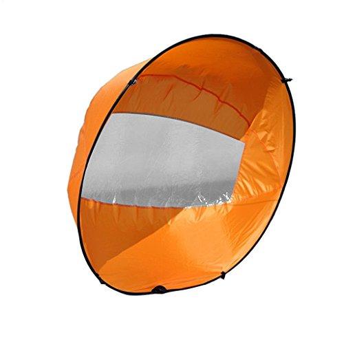 Nrpfell Facil portatil, 42 Pulgadas Vela de Kayak emergente Instante Paleta de Viento a sotavento, Vela de Viento de Kayak, Accesorio para Kayak - Naranja