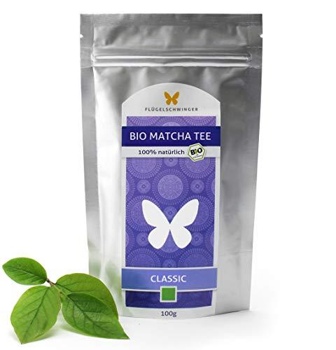 100g Bio-Matcha-Tee CLASSIC von FLÜGELSCHWINGER, 100{f5467bd51dec54b6ff4e876dca525fb6d8f127c6b0d9d14a07dab48469aad9c3} Matcha ohne Zusätze, nach traditioneller Art in Steinmühlen gemahlen, Matcha, Pulver, CN-BIO-140 (100g)