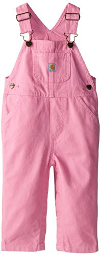Carhartt Baby-Girls Newborn Washed Microsanded Canvas Bib Overall, Pink, 3 Months