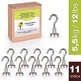 OfficeTree 11 Magnethaken Neodym-Magnete - 1,6 x 3,3 cm - extra Starke Haftkraft an Whiteboard,...