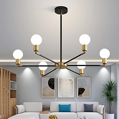 Deyidn Black and Gold Modern Sputnik Chandeliers 6 Light Deformable Mid Century Ceiling Light Fixture Hanging Pendant Lighting for Kitchen Living Room Dining Room Bedroom Farmhouse