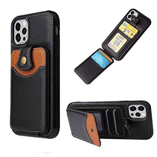 iPhone 12 Pro Case,FWOTOWF Cell Phone iPhone 12 Case Wallet iPhone 12 Case Leather Cover Credit Card Holder Case iPhone 12 with 4 Card Slot Best Protective Durable Kickstand for iPhone 12(Black)